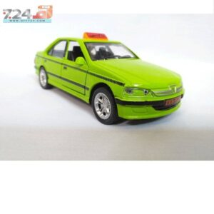 ماشین فلزی پژو تاکسی موزیکال اسباب بازی چراغدار سبز و زرد