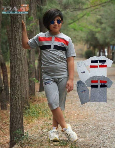 خرید اینترنتی لباس پسرانه ست تیشرت و شلوارک طرح تامی TOMMY