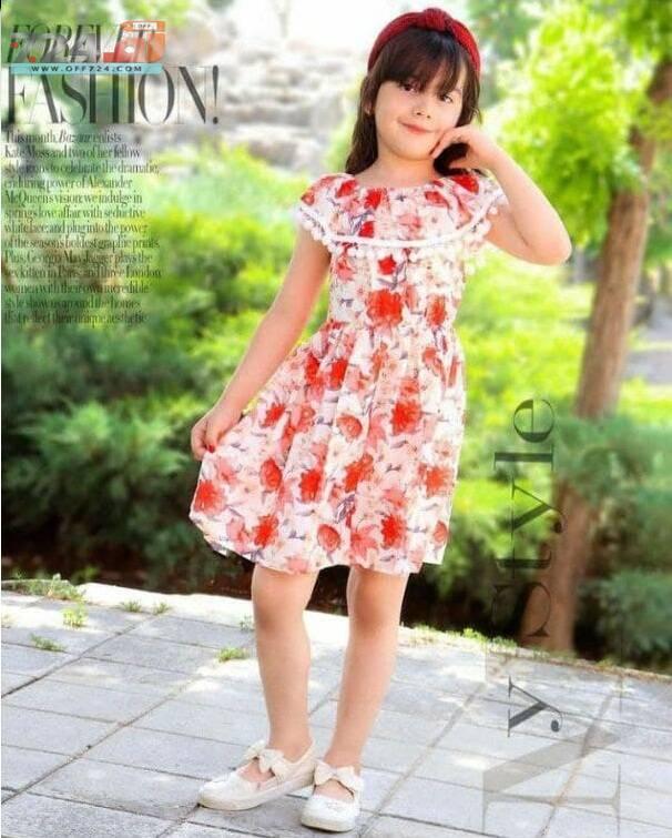 خرید اینترنتی لباس دخترانه ساحلی طرح گلدار نخی و شیک