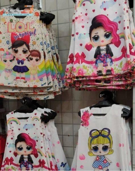 خرید اینترنتی سارافون دخترانه بچه گانه طرح تصویری دختر زیبا