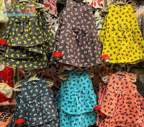 خرید اینترنتی لباس دخترانه سارافون نخی طرح پروانه رنگی