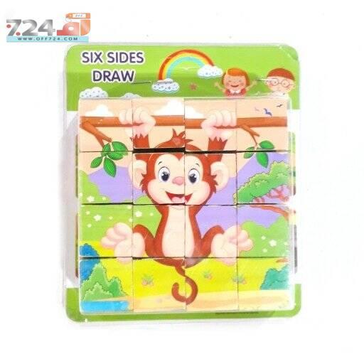 خرید اینترنتی اسباب بازی پازل چوبی مکعبی فکری 6 وجهی 16 تکه کودکان